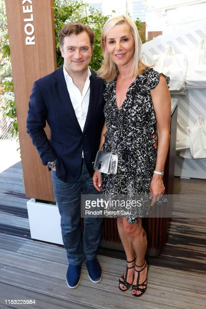 Journalist Laurence Ferrari and her husband violonist Renaud Capucon attend the 2019 French Tennis Open Day Eight at Roland Garros on June 02 2019 in...