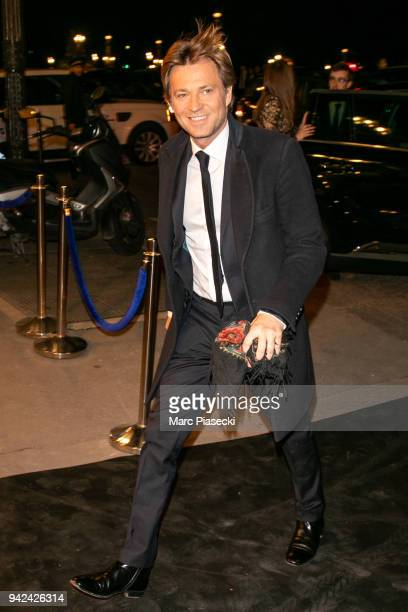 Journalist Laurent Delahousse arrives to attend the 'Madame Figaro' dinner at Automobile Club de France on April 5 2018 in Paris France