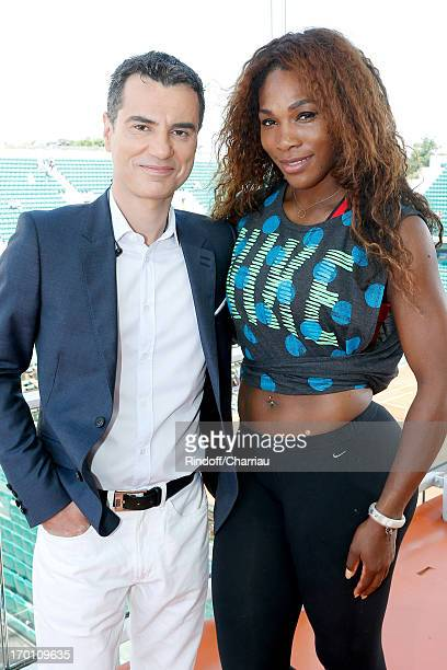 Journalist Laurent Luyat and tennis player Serena Williams on France 2 French TV chanel studio at Roland Garros Tennis French Open 2013 Day 13 on...