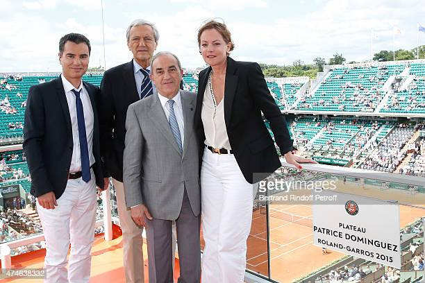 Journalist Laurent Luyat, Deputy Director General of France Televisions for Sports Daniel Bilalian, President of French Tennis Federation Jean...