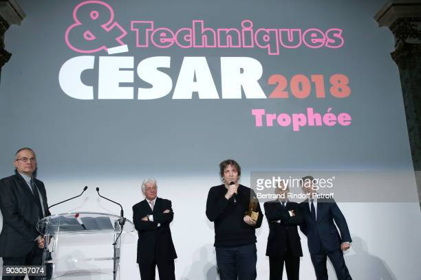 Journalist Laurent Weil CEO of Transpalux Didier Diaz Gilles Gaillard who receives the 'Cesar et Techniques 2018' Award for his Company 'Mikros Image...