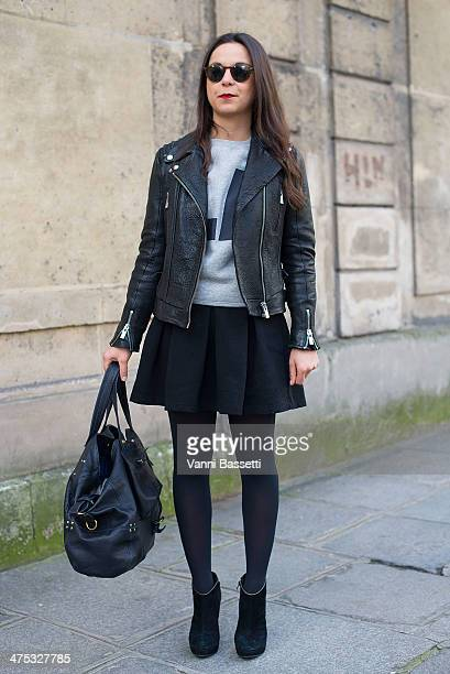 Journalist Leslie Benzaquen wears a jacket by The Kooples a Sandro sweater Zara skirt and Jerome Dreyfuss bag before Alexis Mabille show on February...