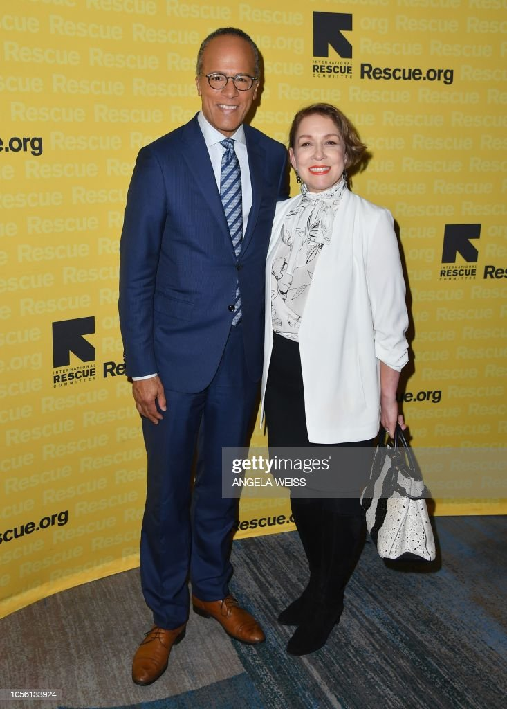Journalist Lester Holt And His Wife Carol Hagen Holt Attend The 2018