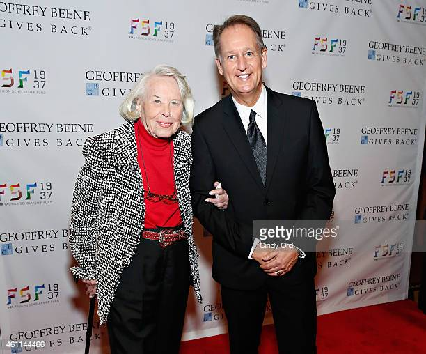 Journalist Liz Smith and YMA Secretary Doug Evans attend the YMA Fashion Scholarship Fund Geoffrey Beene National Scholarship Awards Dinner at The...