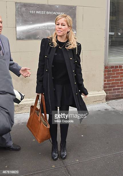 Journalist Liza Ghorbani mother of singer Liam Gallagher's daughter Gemma leaves New York State Supreme Court after reaching an out of court...