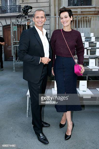 Journalist Louis Laforge and Clotilde Hesme attend the Chanel show as part of the Paris Fashion Week Womenswear Spring/Summer 2015 on September 30...