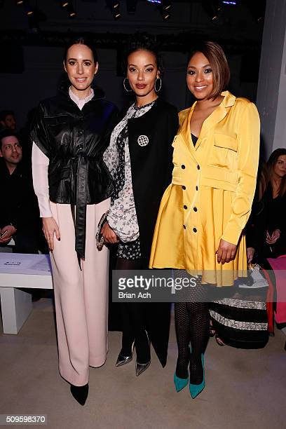 Journalist Louise Roe Model Selita Ebanks and Journalist Alicia Quarles attend the Marissa Webb Fall 2016 fashion show during New York Fashion Week...