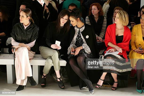 Journalist Louise Roe Models Coco Rocha and Selita Ebanks attend the Marissa Webb Fall 2016 fashion show during New York Fashion Week The Shows at...