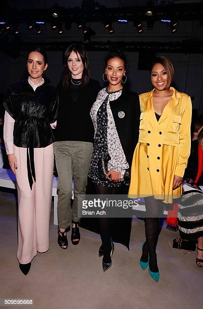 Journalist Louise Roe Models Coco Rocha Selita Ebanks and Journalist Alicia Quarles attend the Marissa Webb Fall 2016 fashion show during New York...