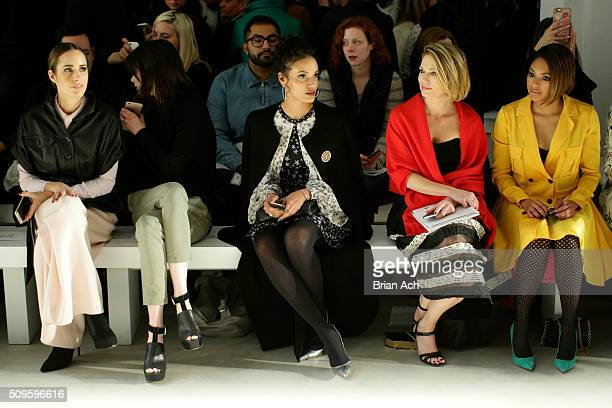 Journalist Louise Roe Models Coco Rocha Selita Ebanks guest and Journalist Alicia Quarles attend the Marissa Webb Fall 2016 fashion show during New...