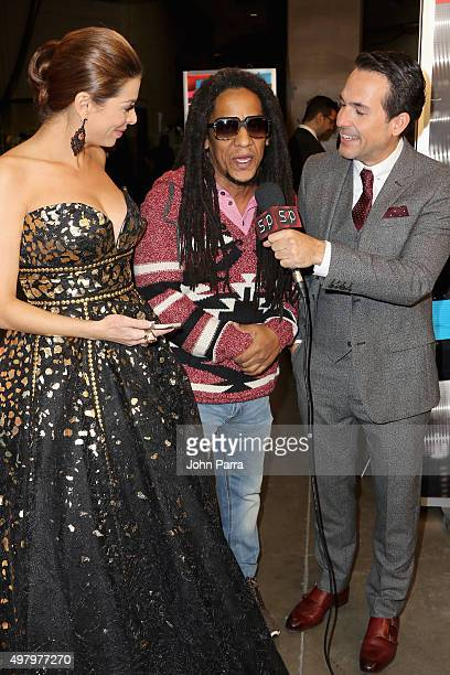 Journalist Lourdes Stephen recording artist Tego Calderon and TV personality Carlos Calderon attend the 16th Latin GRAMMY Awards at the MGM Grand...