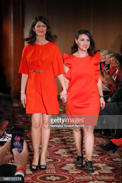 Journalist Magali Lunel dressed by Tibi and Journalist at BFMTV Sandra Gandoin dressed by Maison Lemoine walk the runway at the end of the Sauvez le...