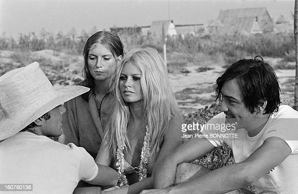 Journalist Marc Francelet filming a party with Brigitte Bardot in August 1967 in SaintTropez France
