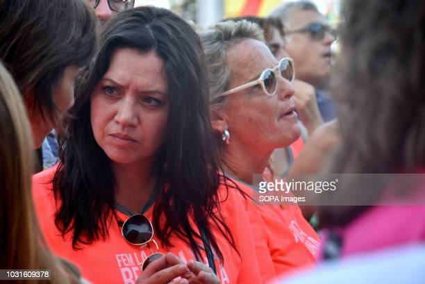 Journalist Marcela Topor and wife of the former President of the Government of Catalonia exiled in Waterloo Carles Puigdemont seen during the...