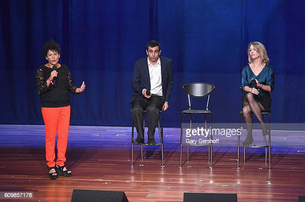 Journalist Mariane Pearl, co-founder of Yazda, Murad Ismail and filmmaker Michele Mitchell speak on stage during 2016 Global Citizen: The World on...