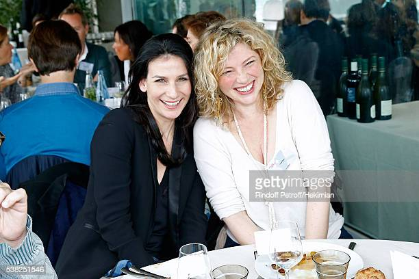 Journalist Marie Drucker and actress Cecile Bois attend the 'France Television' Lunch during Day Fifteen Men single's Final of the 2016 French Tennis...