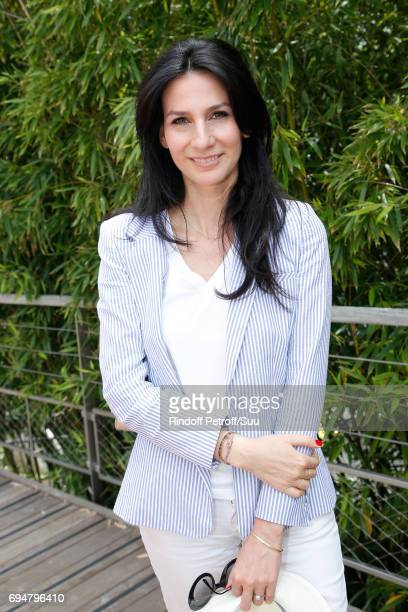 Journalist Marie Drucker attends the Men Final of the 2017 French Tennis Open Day Fithteen at Roland Garros on June 11 2017 in Paris France