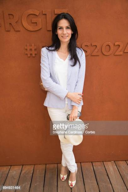 Journalist Marie Drucker attends the Men Final of the 2017 French Tennis Open Day Fifteen at Roland Garros on June 11 2017 in Paris France