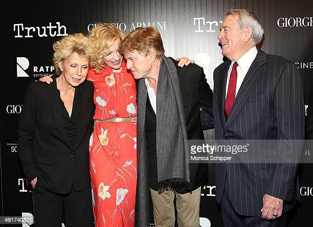 """Journalist Mary Mapes, actress Cate Blanchett, actor Robert Redford and journalist Dan Rather attend the screening of Sony Pictures Classics' """"Truth""""..."""