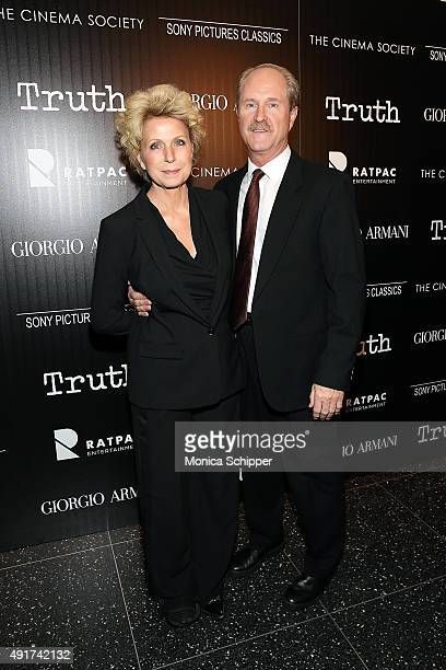 """Journalist Mary Mapes and Mark Wrolstad attend the screening of Sony Pictures Classics' """"Truth"""" hosted by Giorgio Armani and The Cinema Society at..."""