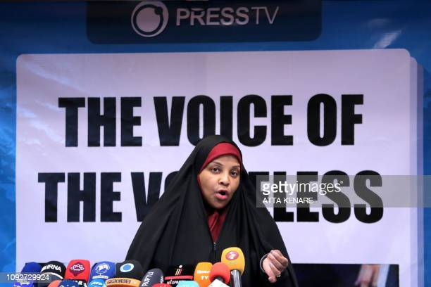 Journalist Marzieh Hashemi talks during a press conference in Tehran on February 2 2019 A USborn journalist working for Iran's Englishlanguage...