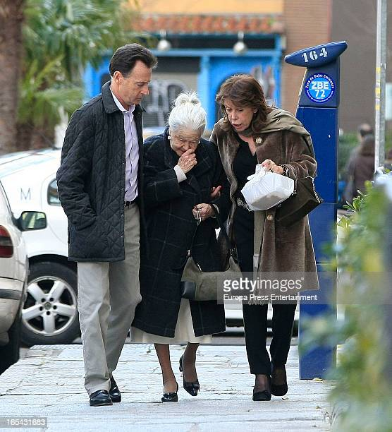 Journalist Matias Prats his mother Emilia Luque Montejano and his ex wife Maite Chacon are seen on March 18 2013 in Madrid Spain