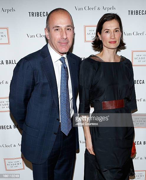 Journalist Matt Lauer and Annette Lauer attend the 2013 Tribeca Ball at New York Academy of Art on April 8 2013 in New York City