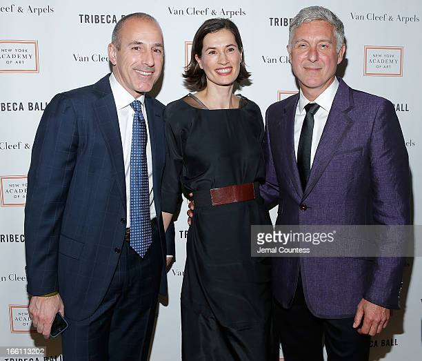 Journalist Matt Lauer Annette Lauer and artist David Kratz attend the 2013 Tribeca Ball at New York Academy of Art on April 8 2013 in New York City