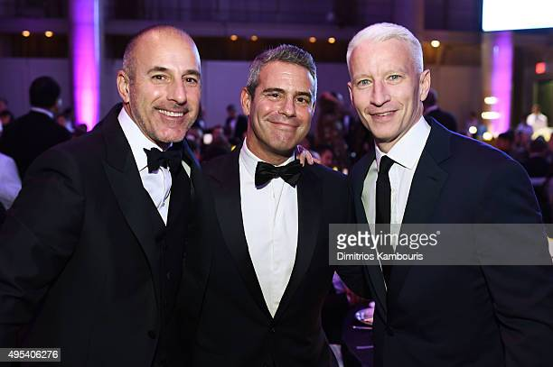 Journalist Matt Lauer television host Andy Cohen and journalist Anderson Cooper attend Elton John AIDS Foundation's 14th Annual An Enduring Vision...