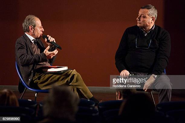 Journalist Maurizio Bono and Writer Massimo Carlotto during the presenation of novel 'Il Turista' by Massimo Carlotto at the Noir In Festival on...