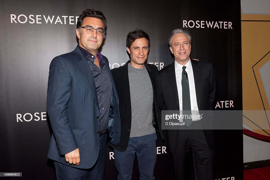 Journalist Maziar Bahari, actor Gael Garcia Bernal, and director/writer/producer Jon Stewart attend the 'Rosewater' New York Premiere at AMC Lincoln Square Theater on November 12, 2014 in New York City.