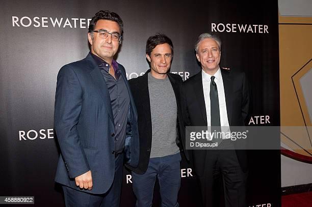 Journalist Maziar Bahari actor Gael Garcia Bernal and director/writer/producer Jon Stewart attend the Rosewater New York Premiere at AMC Lincoln...