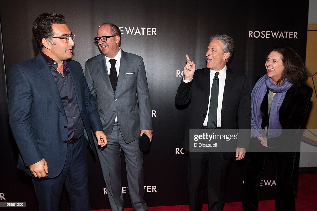 Journalist Maziar Bahari, Open Road Films executive VP of production and acquisitions Peter Lawson, director/writer/producer Jon Stewart, and producer Gigi Pritzker attend the 'Rosewater' New York Premiere at AMC Lincoln Square Theater on November 12, 2014 in New York City.