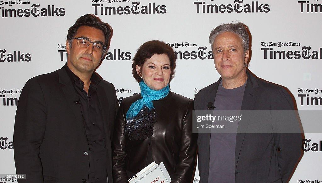 Journalist Maziar Bahari, writer Janet Maslin and director/tv personality Jon Stewart attend the TimesTalks with Jon Stewart and Maziar Bahari at TheTimesCenter on November 10, 2014 in New York City.