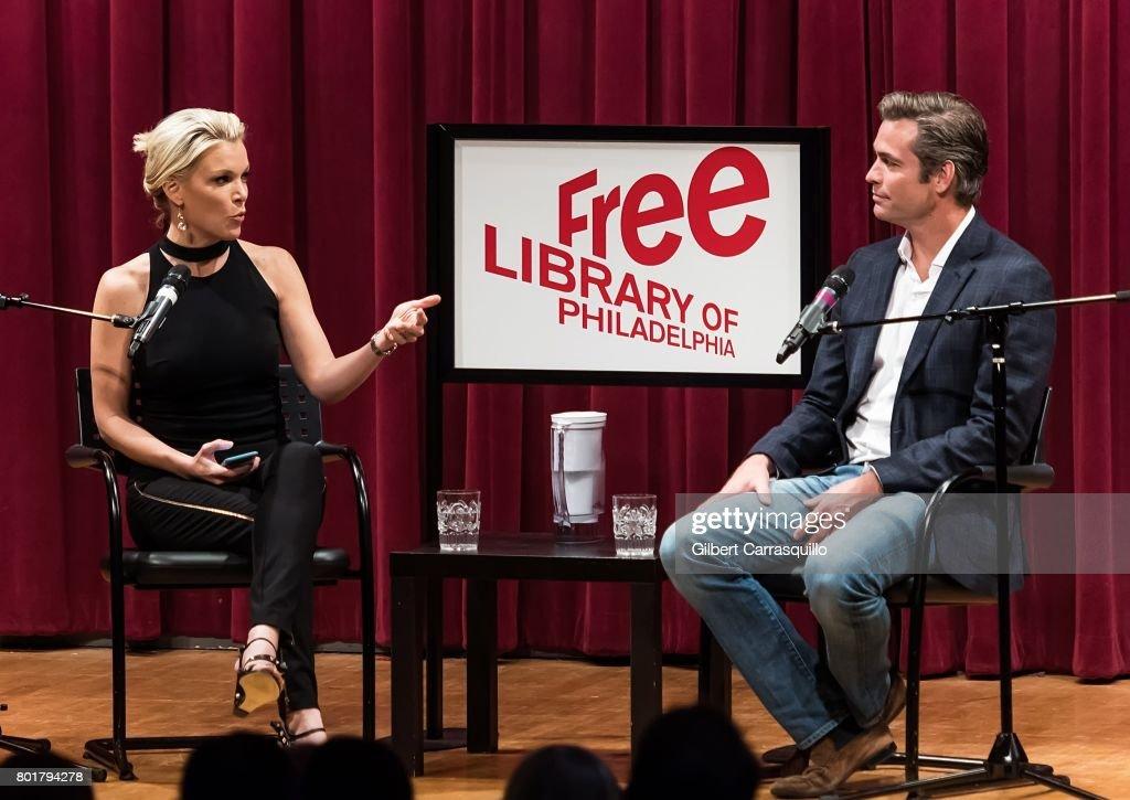 Journalist Megyn Kelly and novelist Douglas Brunt discuss Douglas Brunt's new novel, 'Trophy Son,' during Douglas Brunt In Conversation with Megyn Kelly at Free Library of Philadelphia on June 26, 2017 in Philadelphia, Pennsylvania.
