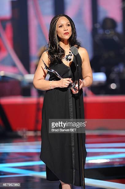 Journalist Melissa HarrisPerry speaks onstage Black Girls Rock BET Special at NJPAC – Prudential Hall on March 28 2015 in Newark New Jersey