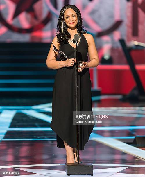 Journalist Melissa HarrisPerry speaks onstage during 2015 'Black Girls Rock' BET Special at NJ Performing Arts Center on March 28 2015 in Newark New...