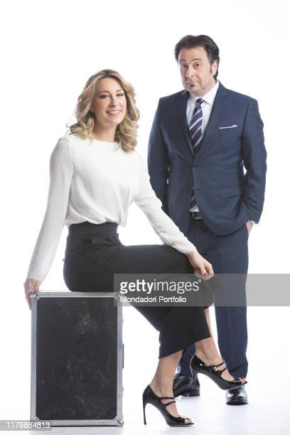 Journalist Mia Ceran and comedian Mago Forest being the hosts of the satirical television program Rai dire Niùs Milan Italy 26th January 2017