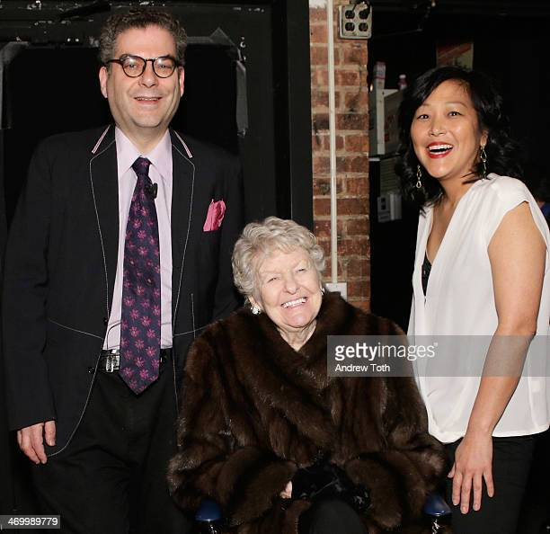 Journalist Michael Musto actress Elaine Stritch and director Chiemi Karasawa attend 92nd Street Y Presents An Evening With Elaine Stritch And Michael...