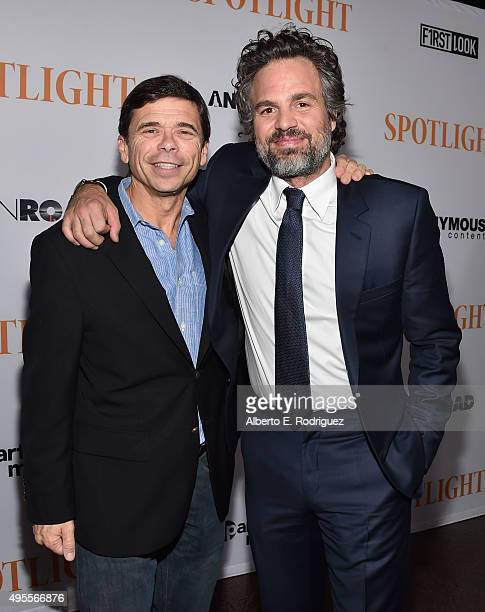 "Journalist Michael Rezendes and actor Mark Ruffalo attend a special screening of Open Road Films' ""Spotlight"" at The DGA Theater on November 3, 2015..."