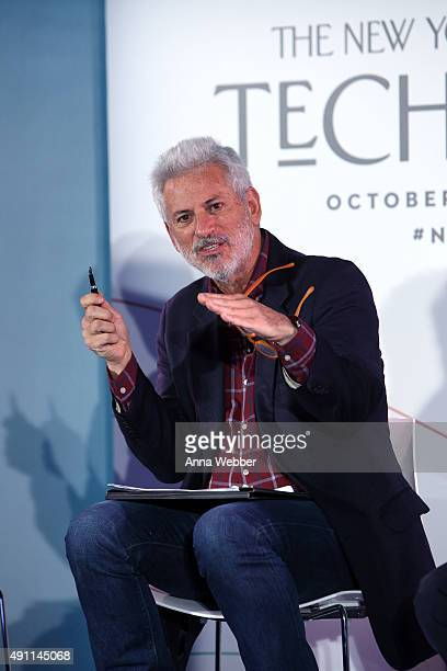 Journalist Michael Specter speaks on stage during The New Yorker Festival 2015 Tech@Fest Crispr at One World Trade Center on October 3 2015 in New...