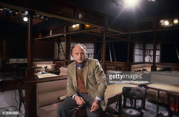 Journalist Michel Polac sits on the set of the television show Droit de reponse in Paris before his first broadcast as host of the show.