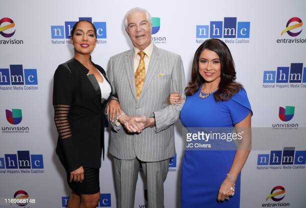 Journalist Michelle Valles National Hispanic Media Coalition president and CEO Alex Nogales and TV personality Dunia Elvir attend the NHMC's 17th...