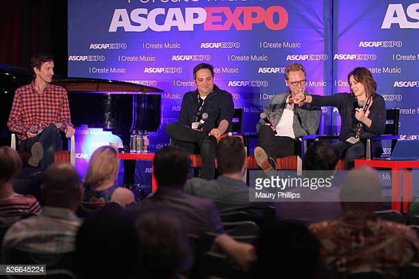 Journalist Mikael Wood composer Adam Schlesinger composer Jack Dolgen and actress/singer Rachel Bloom speak onstage during the 'Feeling Kinda...