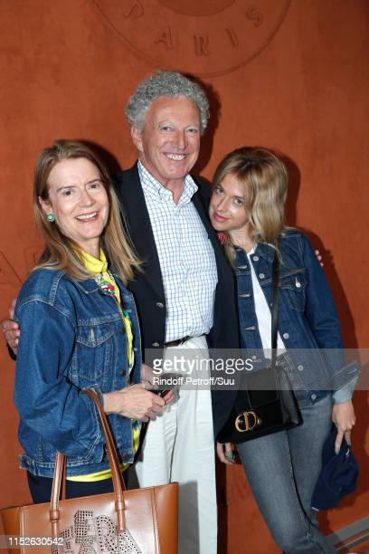 Journalist Nelson Monfort with his wife Dominique and their daughter Rebecca attend the 2019 French Tennis Open - Day Five at Roland Garros on May...