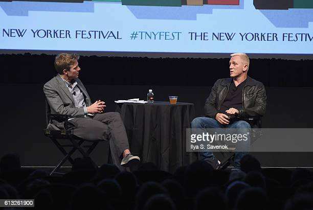 Journalist Nicholas Schmidle and actor Daniel Craig speak onstage during The New Yorker Festival 2016 Daniel Craig Talks With Nicholas Schmidle at...