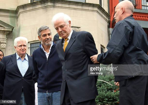 Journalist Nick Clooney his son actor George Clooney and US Rep Jim Moran are arrested by members of the US Secret Service Uniform Division during a...