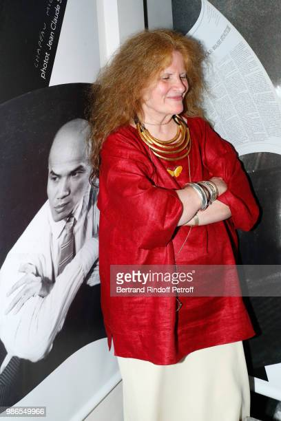 Journalist Nicole Wisniak attends the Tan Giudicelli Exhibition of drawings and accessories preview at Galerie Pierre Passebon on June 28 2018 in...