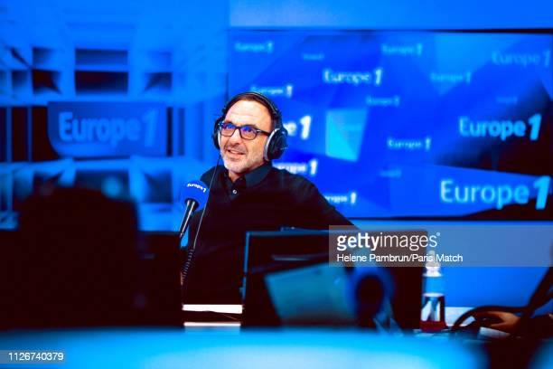 Journalist Nikos Aliagas is photographed for Paris Match in Europe 1's radio station on February 06 2019 in Paris France
