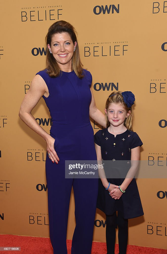 Journalist Norah O'Donnell and Grace O'Donnell attend the 'Belief' New York premiere at TheTimesCenter on October 14, 2015 in New York City.